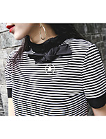 Women's Casual/Daily Vintage Spring Summer T-shirt,Striped Turtleneck Short Sleeve Cotton Medium