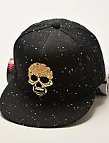 Men Women 's Summer Cotton Fluorescent Color Skull Print Rivets Flat Baseball Cap Couple Hip Hop Hat