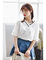 2017 Summer Korean version of the simple wild loose V-neck bottoming shirt solid color short-sleeved t-shirt female blouses