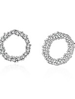 925 Rhinestone Round Stud Earrings Jewelry Circular Design Party Daily Casual Sterling Silver Zircon 1 pair Silver