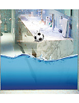 Football Seamless Splice 3D Seawater PVC Glass Stickers Decoration for The Bathroom