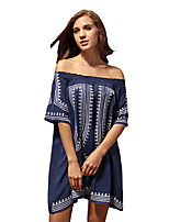 Women's Going out Beach Holiday Loose Dress,Geometric Boat Neck Above Knee ½ Length Sleeve Cotton Spring Summer High Rise Inelastic Thin