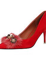 Damen-High Heels-Büro Kleid-Kunstleder-Stöckelabsatz-Komfort-Orange Grau Rot Rosa Khaki