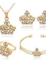 Conjunto de Jóias Cristal Básico Strass Liga Formato Coroa Dourado 1 Colar 1 Par de Brincos 1 Bracelete Anéis ParaCasamento Festa Ocasião