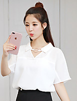 Women's Casual/Daily Simple Street chic Summer Fall Shirt,Solid V Neck Short Sleeve Polyester Medium