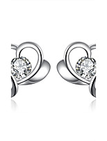Concise Silver Plated Clear Crystal Heart Shape Stud Earrings for Wedding Party Women Accessiories