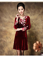 Women's Going out A Line Dress,Embroidered Round Neck Above Knee Long Sleeve Polyester Spring Summer Mid Rise Inelastic Medium