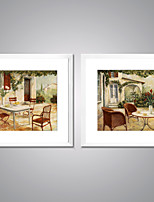 Framed Canvas Prints Impression Landscape Painting Picture Print on Canvas with White Frame for Livingroom Decoration