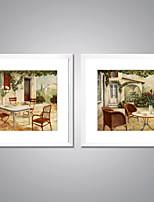 Pinturas com Molduras Abstrato Paisagem Tradicional Estilo Europeu,2 Painéis Tela Quadrangular Impressão artística Decoração de ParedeFor