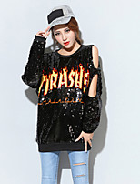 Women's Casual/Daily Street chic T-shirt,Letter Round Neck Long Sleeve Polyester