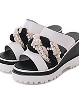 Белый Черный-Для женщин-Для офиса Повседневный Для праздника-Полиуретан-На танкетке-Удобная обувь-Обувь на каблуках