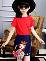 Girls' Casual/Daily Patchwork Sets,Cotton Rayon Summer Short Sleeve Clothing Set
