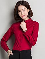 Tee-shirt Femme,Couleur Pleine Décontracté / Quotidien simple Manches Longues Col Arrondi Polyester Fin