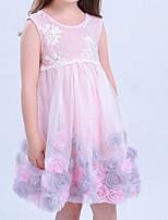Девичий Платье На каждый день Хлопок Однотонный Лето