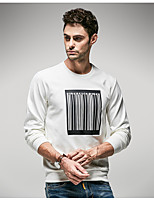 Men's Casual/Daily Sweatshirt Solid Crew Neck Micro-elastic Cotton Long Sleeve Fall Winter