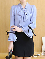 Women's Going out Work Holiday Simple Street chic Sophisticated Spring Fall Blouse,Solid Round Neck Long Sleeve Others Medium