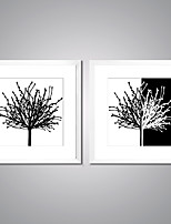 Framed Canvas Prints Black and White Picture Print Modern Abstract Canvas Art with White Frame  for Wall Decoration