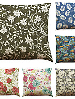 Set of 6 Fashion Flowers Pattern  Linen Pillowcase Sofa Home Decor Cushion Cover  Throw Pillow Case (18*18inch)