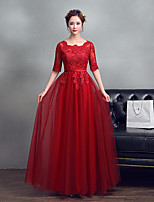 Formal Evening Dress A-line Jewel Floor-length Lace Tulle with