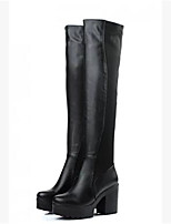 Damen-Stiefel-Lässig-PU-Blockabsatz Block Ferse-Mary Jane-