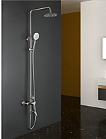 Contemporary Tub And Shower Rain Shower Widespread Handshower Included with  Ceramic Valve Two Handles Two Holes for  Nickel Brushed ,
