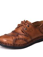 Men's Flats Spring Summer Fall Comfort Cowhide Office & Career Party & Evening Casual Flat Heel Brown Khaki Walking