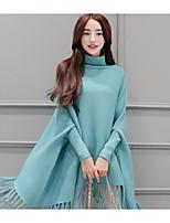 Women's Casual/Daily Simple Long Cardigan,Solid Turtleneck Long Sleeve Wool Spring Fall Medium Micro-elastic