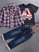 Boys' Going out Casual/Daily Holiday Check Sets,Cotton Polyester Spring Fall Long Sleeve Clothing Set