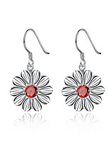 Concise Silver Plated Red Crystal Chrysanthemum Design Drop Earrings for Party Women Jewelry Accessiories
