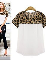 Europe leopard stitching loose short-sleeved T-shirt 0.08KG large spot