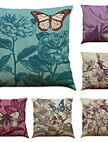 Set of 6 Retro Butterfly Pattern   Linen Pillowcase Sofa Home Decor Cushion Cover (18*18inch)