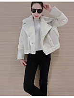 Women's Casual/Daily Simple Spring Fur Coat,Color Block Round Neck Long Sleeve Regular Cotton