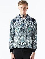 Men's Casual/Daily Hoodie Print Round Neck Micro-elastic Cotton Long Sleeve Spring Fall