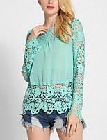 Women's Going out Work Sexy Sophisticated Blouse,Solid Patchwork Round Neck Long Sleeve Rayon Polyester