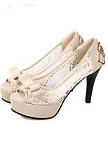 Черный Бежевый-Для женщин-Свадьба Для праздника Для вечеринки / ужина-Тюль-На шпильке-Удобная обувь Формальная обувь-Обувь на каблуках