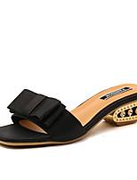 Slippers & Flip-Flops Summer Slingback Leatherette Dress Casual Chunky Heel Rhinestone Bowknot Walking