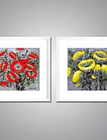Lonas Estampadas com Moldura Abstrato Floral/Botânico Tradicional Estilo Europeu,2 Painéis Tela Quadrangular Impressão artísticaDecoração