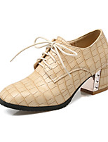Women's Heels Spring Summer Fall Winter Club Shoes PU Office & Career Dress Casual Chunky Heel Block Heel Lace-up Gold Black Silver Beige
