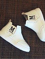Белый-Девочки-Для прогулок Повседневный-Кожа-На плоской подошве-Удобная обувь-Ботинки
