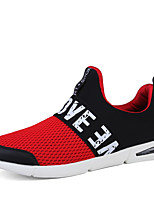 Men's Sneakers Spring Summer Fall Comfort Light Soles Tulle Outdoor Casual Athletic Flat Heel Black Black/Red Running