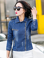 Women's Going out Cute Fall Denim Jacket,Solid Notch Lapel Long Sleeve Short Polyester