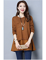 Women's Casual/Daily Simple Long Pullover,Patchwork Round Neck Long Sleeve Cotton Spring Fall Medium Micro-elastic