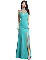 Formal Evening Dress Trumpet / Mermaid Jewel Sweep / Brush Train Matte Satin with Beading