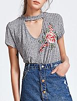 Damen Blumen Patchwork Retro Anspruchsvoll Ausgehen Lässig/Alltäglich T-shirt,Rundhalsausschnitt Kurzarm Baumwolle Kunstseide