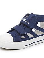 Белый Темно-синий-Девочки-Для прогулок Повседневный-Полотно-На плоской подошве-Удобная обувь-Сандалии