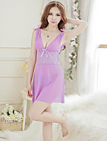Women's Lace Lingerie Satin & Silk Nightwear Solid-Thin Velvet Women's