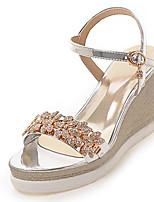 Damen-Sandalen-Hochzeit Büro Kleid-PU-Keilabsatz-Club-Schuhe-Gold Silber Grau Rosa