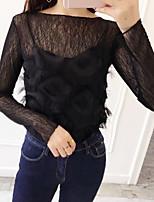 Tee-shirt Femme,Couleur Pleine Sortie Décontracté / Quotidien Plage simple Mignon Eté Manches Longues Col Arrondi Coton Transparent