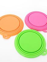 Cat Dog Bowls & Water Bottles Pet Bowls & Feeding Waterproof Portable Foldable Red Green Blue Pink Yellow Orange Silicone