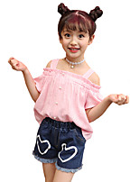Girls' Going out Casual/Daily Holiday Print Patchwork Sets Cotton Summer Short Sleeve A Word Shoulder Top Shorts 2 Piece Clothing Set